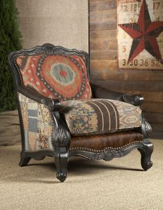 Rustic living room chairs and ottomans southwestern buckley chair. Ottoman In Living Room, Chair And Ottoman, Living Room Chairs, Living Room Furniture, Living Rooms, Western Furniture, Rustic Furniture, Furniture Decor, French Furniture