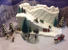 Hand made own design ski slope, not made by Lemax or but fits the scale of both well. This ski slope mountain will add hight and interest, easy to place and incorporate in to any village. A ski scene is a great conversation piece for any village. Christmas Village Display, Christmas Town, Christmas Villages, Noel Christmas, Vintage Christmas, Christmas Crafts, Diy Christmas Village Accessories, Christmas Mantles, Victorian Christmas
