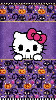 Halloween, fondo halloween, halloween cards, halloween wallpaper, holiday w Hello Kitty Halloween, Halloween 2, Halloween Cards, Halloween Frames, New Wallpaper Iphone, Cellphone Wallpaper, Wallpaper Backgrounds, Sanrio Wallpaper, Skull Wallpaper