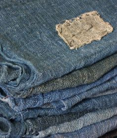 "Sri Threads: ""A luscious stack of indigo dyed hemp kaya, or traditional Japanese mosquito netting."""