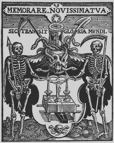 """A coat of arms depicting an altar with Christ is flanked by two figures of death, standing between a skull crowned with an hourglass."" via Wellcome Library on Wikimedia Commons, CC BY Memento Mori, Dance Of Death, Danse Macabre, Macabre Art, Vanitas, Art Graphique, Medieval Art, Grim Reaper, Skull And Bones"