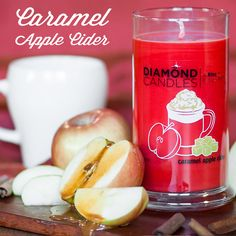 PIN NOW, SHOP LATER! Caramel Apple Cider Diamond Candle - These soy candles you'll love! Creamy drizzled caramel, red apples, and mulled spiced cider. Yum! Click to shop!