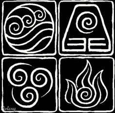 Yes, these are the symbols for the 4 elements from Avatar: the Last Airbender. Awesome tattoo idea?