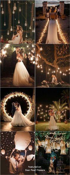 Romantic rustic country light wedding photo Rustikale Hochzeit Top 20 Must See Night Wedding Photos with Lights Trendy Wedding, Elegant Wedding, Perfect Wedding, Dream Wedding, Light Wedding, Wedding Rustic, Diy Wedding, Wedding Country, Wedding Cakes