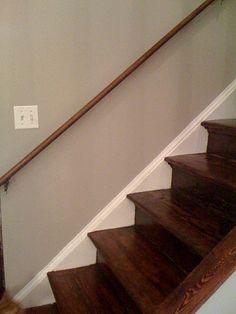 wood stairs white trim