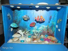 Aquarium project Ocean Crafts, Seashell Crafts, Water Crafts, Ocean Diorama, Diorama Kids, Ocean Projects, Projects For Kids, Crafts For Teens, Crafts To Do