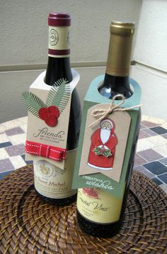 Handmade Wine Bottle Gift Tag - Holidays - Christmas - Set of 2