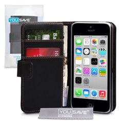 iPhone 5C Case Black PU Leather Wallet Cover