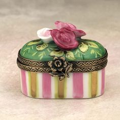 Antique Vintage Striped Limoges box with roses