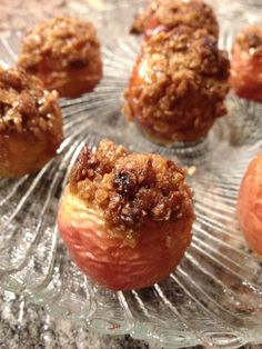 mini baked apples ~ individual bite sized organic apples filled with a delectably sweet oatmeal mixture Apple Filling, Baked Apples, Bite Size, Spoon, Catering, Oatmeal, Muffin, Organic, Treats