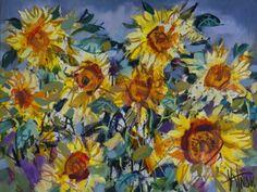 sunflowers - Painting, cm by Sergey Yatnov - Expressionism, Canvas, Landscape, sunflowers Original Art, Art Gallery, Landscape, Canvas, Artwork, Expressionism, Sunflowers, Painting, Google Search