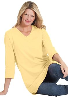 Textured knit tunic with 3/4 sleeves | Plus Size Tops & Tees | Woman Within
