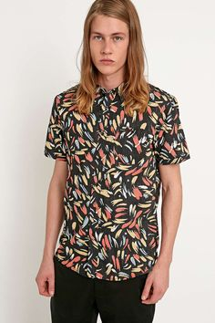 RVCA Cubano Brush Print Short Sleeve Shirt in Black - Urban Outfitters