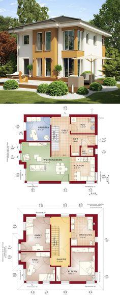 Stadtvilla modern mit Walmdach Architektur - Grundriss Haus Evolution 136 V2 Bien Zenker Fertighaus Ideen - HausbauDirekt.de