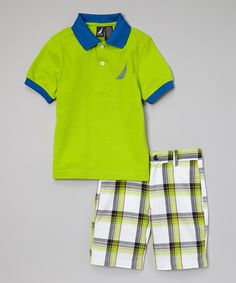Look at this Nautica Bright Green Polo & Plaid Shorts - Infant & Toddler on #zulily today!