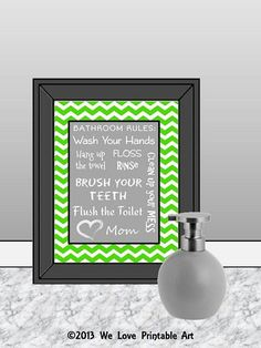 Bathroom Sign Bathroom Decor Subway Art by WeLovePrintableArt, $5.00 Bathroom Sign, Bathroom Decor, Subway Art, Bathroom Rules, Typography, Green Chevron, Bath Wall Decor, Bath Quotes, Wash Your Hands