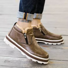 Men's Winter New Short Boots Retro Warm Cotton Shoes Chukka Shoes, Leather Chukka Boots, Brogue Chelsea Boots, Leather Chelsea Boots, Slip On Boots, Dress With Boots, Mens Short Boots, Mens Winter Shoes, Alligator Boots