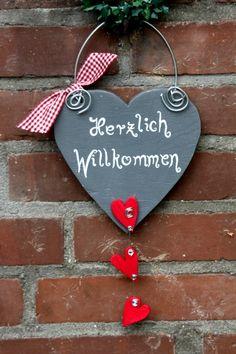 Willkommensschild, Türschild von AnnaRa auf DaWanda.com
