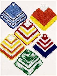 Crochet for the Home - Crochet Potholder Patterns - Vibrant Stripes Pot Holders Pattern -- Free Beginner Design
