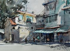 Old community in front of Arts museum, Hanoi (watercolor, 26x36 cm)
