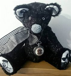 Magic  large black sparkly Harry Potter jointed artist bear.