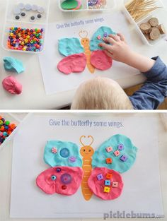 Beautiful Bugs! Free printable playdough mats :: learn about bugs :: insect theme