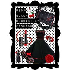 Red & Black Rockabilly Fashion. Fashion Collage by DanielleJevette created on Polyvore