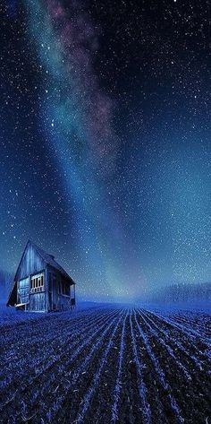 Starry night in a rural field just as beautiful as the daytime sunlit wide open spaces view.