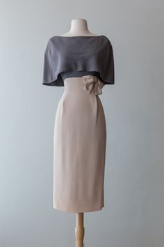 Understated 1950's Shawl Collar Dress. Stunning!