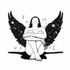 – Damla Koçak – Oh, the blessed of freedom! Art And Illustration, Doodle Art, Arte Inspo, Art Sketches, Art Drawings, Ange Demon, Art Plastique, White Art, Aesthetic Art