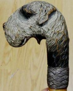 Wood Carvings Austria | Antique Carved Wood Dog Head Kerry Blue Terrier Walking Stick Cane ...