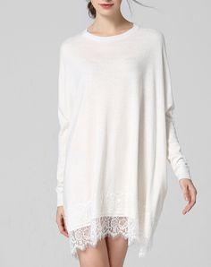 #AdoreWe #VIPme Sweater Dresses - wei guo yue White Grew Neck Lace Paneled Knitted Mini Dress - AdoreWe.com
