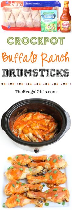 Crockpot Buffalo Ranch Chicken Drumsticks - just 3 ingredients and the perfect slow cooker dinner, appetizer, or party food! Crock Pot Recipes, Slow Cooker Recipes, Cooking Recipes, Crockpot Party Food, Crockpot Meals, Appetizer Crockpot, Wing Recipes, Recipe Chicken, Clean Eating Snacks