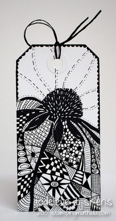 Combining rubber stamps & Zentangle! Tag by Godelieve Tijskens using Darkroom Door 'Carved Flowers' rubber stamps DDRS111