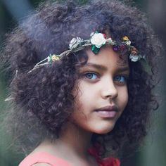 Beautiful metis girl with nappy hair and green eyes. Pretty rustic flower head band DIY.