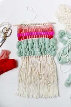 Weave with wool roving for a beautifully textured wall hanging.