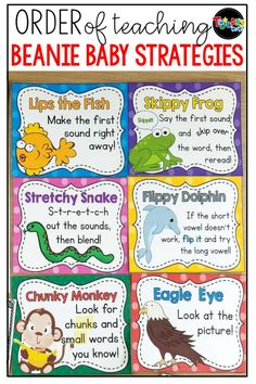 I have been using Beanie Babies to teach decoding strategies to my students for years, withgreat success. Click here to read more about teaching decoding Decoding Strategies, Reading Strategies Posters, Guided Reading Lessons, Reading Posters, Reading Comprehension Strategies, Kindergarten Reading Strategies, Reading Intervention Strategies, Kindergarten Blogs, Readers Workshop Kindergarten