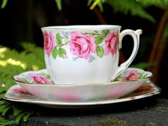 Bone China Teacup Trio, Tea Cup, Saucer and Side Plate, Lady Alexander Rose 14158