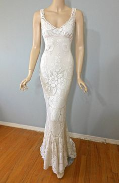 Vintage Style Victorian WEDDING Dress Crochet by MuseClothing