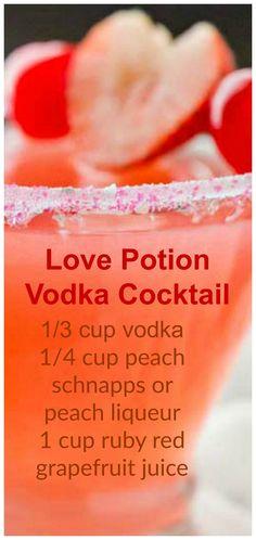 Love Potion Vodka Cocktail ~ vodka, peach schnapps and cherry/raspberry juice Liebestrank-Wodka-Cocktail ~ Wodka, Pfirsichschnaps und Kirsch- / Himbeersaft Drinks Cocktails Vodka, Liquor Drinks, Cocktail Drinks, Beverages, Party Drinks, Peach Schnapps Drinks, Cocktail Recipes With Vodka, Easy To Make Cocktails, Birthday Drinks