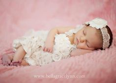 Lace Petti Baby Romper Ivory with Flowers and by PoshPeanutKids, $42.99