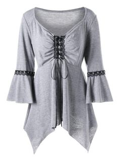 Women s Sexy Runched Flare Sleeve Asymmetrical Tunic Top XL-5XL 2 Colors  Fashion Site 19e679053cc8