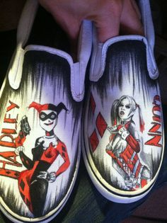 Hand drawn Harley Quinn shoes by AlzadoCompany on Etsy