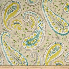 P Kaufmann Watercolors Paisley Twill Mist from @fabricdotcom  Screen printed on cotton twill this light/medium weight fabric is very versatile. This fabric is perfect for window treatments (draperies, valances, curtains, and swags), bed skirts, duvet covers, pillow shams, accent pillows, tote bags, aprons and light upholstery. Colors include teal, citrine, grey, green and ivory.