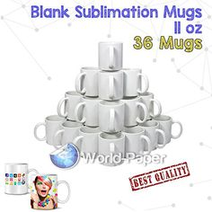 Sublimation Mugs White 11oz Coated Cups Heat Press Transfer Blank-36 Mugs  36 Mugs Ready For Sublimation 11 OZ.  Dishwasher and microwave safe.  AAA Coating Bright and White.  white ceramic mugs are perfect for making photo mugs, promotions, gifts, personal keepsakes, artwork showcasing, and much more.  High quality white ceramic.