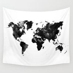 Buy black and white world map wall tapestry by haroulita worldwide buy black watercolor world map by hedehede as a high quality wall tapestry worldwide shipping available at society6 just one of millions of products gumiabroncs Choice Image