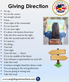 Asking and Giving Direction Phrases in English - English Grammar Here English Learning Spoken, Teaching English Grammar, English Writing Skills, English Language Learning, English Sentences, English Vocabulary Words, Learn English Words, English Phrases, English Tips