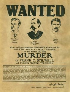 WYATT EARP doc holliday * 3 WANTED posters tombstone reward old west in Collectibles, Cultures & Ethnicities, Western Americana Old West Outlaws, Famous Outlaws, Old West Photos, Doc Holliday, Wyatt Earp, Billy The Kids, Le Far West, Mountain Man, Poster