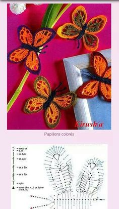 Graph directions only Crochet Butterfly Pattern, Crochet Animal Patterns, Crochet Patterns Amigurumi, Crochet Animals, Crochet Dolls, Crochet Flowers, Freeform Crochet, Knit Or Crochet, Crochet Motif
