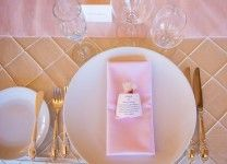 pink and gold wedding place setting Powers Photography